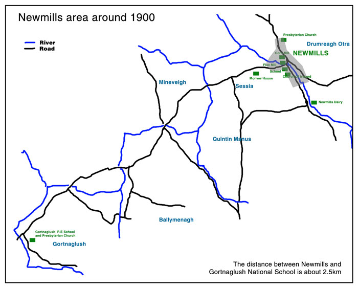 Map of Newmills area around 1900