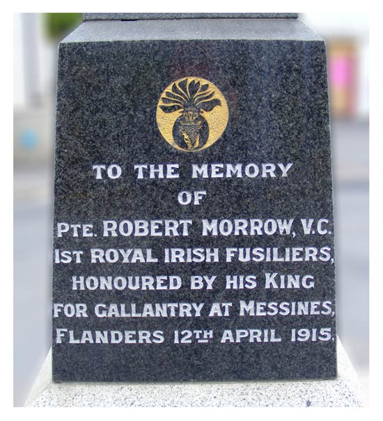 Inscrption on the Memorial to Private Robert Morrow VC in Newmills Village