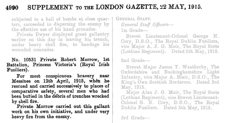 London Gazette of 22nd May 1915