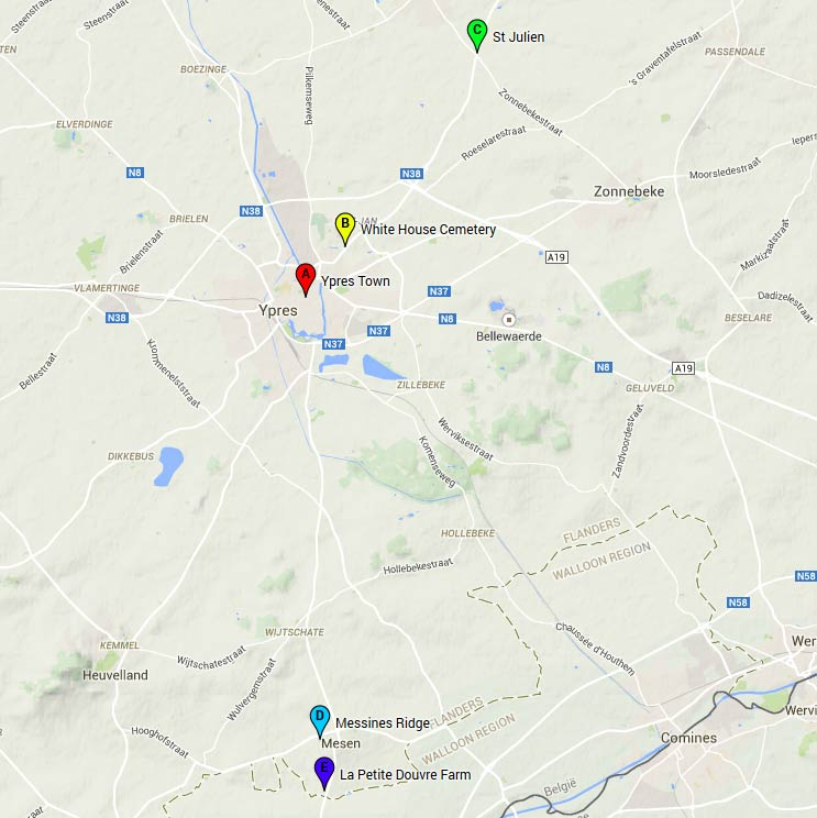 Map of relevant locations around Ypres